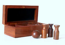 Executive Table Toy Box Game - Wooden Boxed Games Set Mini Skittles Bowling Game