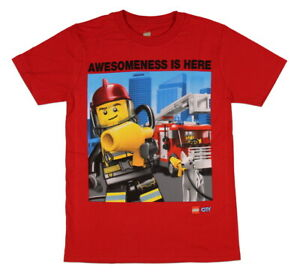 Lego City Boy's Awesomeness Is Here Fire Rescue T-Shirt