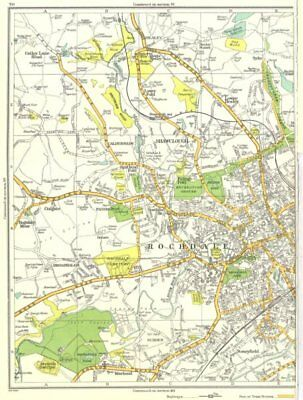 Europe Maps Genteel Rochdale.shawclough,marland,stoneyfield,broadhalgh,caldershaw 1935 Old Map