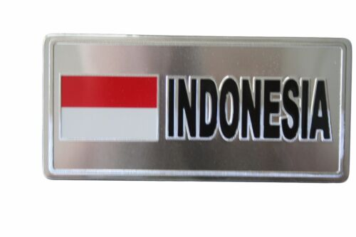 INDONESIA COUNTRY FLAG-SILVER LICENSED STICKER FLAG PLATE..SIZE 6 X 3 INCH