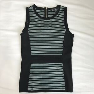 White-House-Black-Market-Teal-And-Black-Knit-Stripes-Top-Blouse-Shirt-Size-Small