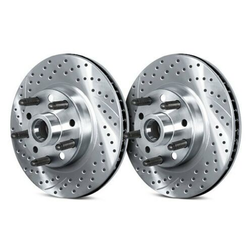 For Ford F-150 75-93 Drilled /& Slotted 1-Piece Front Brake Rotors /& Hub Assembly