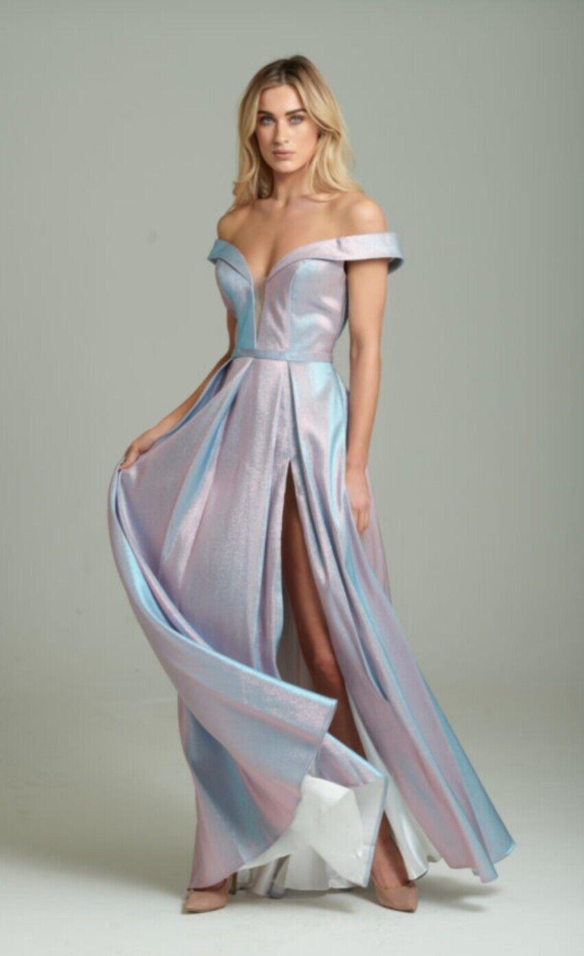 BRAND NEW Iridescent Off The Shoulder Wedding / Prom / Bridesmaid /Evening Dres