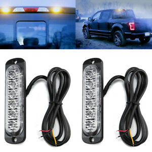 2-x-Amber-Recovery-Strobe-6-LED-Flashing-Light-Grill-Breakdown-Beacon-Lamp-Car