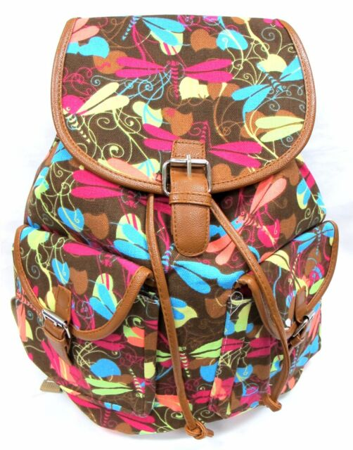 Women/'s Large Cotton Canvas Backpack Drawstring Padded Strap WATER LILY FLOWER