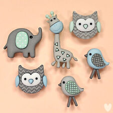 DRESS IT UP Buttons Jungle Baby 9317 - Embellishments Owl Elephant Giraffe Birds