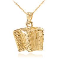 Solid Gold Music Accordion Banda Corridos Pendant Necklace