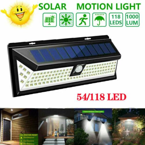 Solar PIR Motion Sensor 54//118 LED Security Wall Flood Light Spotlight UK Stock