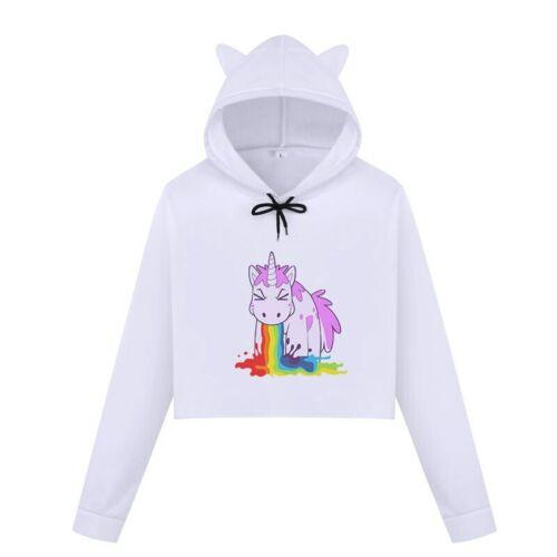 15 Styl Kawaii cartoon Rainbow Unicorn Femmes Fille Oreilles Cropped Sweat à capuche Casual BTS