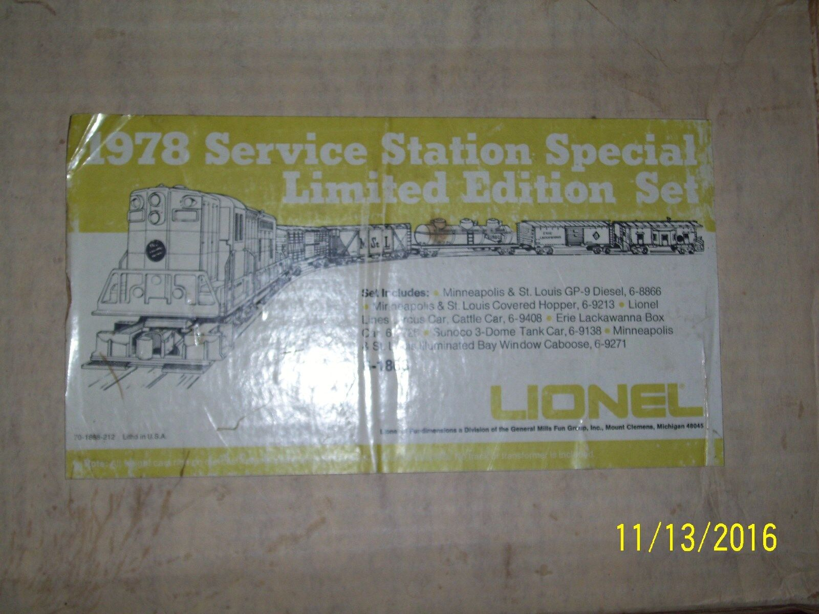 LIONEL 6-1868 1978 SERVICE STATION SPECIAL LIMITED EDITION SET