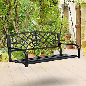 Outdoor Fleur-De-Lis Porch Swing 2-seat Garden Hanging Bench w/ Chain
