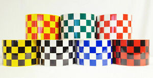 HIGH QUALITY RED//YELLOW CHEQUERED REFLECTIVE TAPE 75MM WIDTH 7 LENGTHS