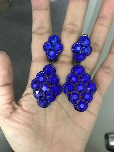 "2.25"" Long Rhinestone Navy Blue Pageant Wedding Crystal Earrings Clip On"
