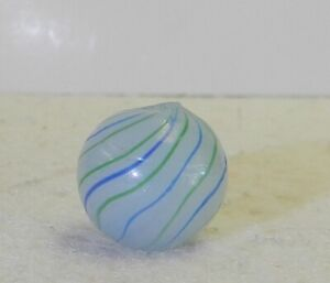 #12179m Vintage German Handmade 2 Color Bands Clambroth Marble .59 Inches