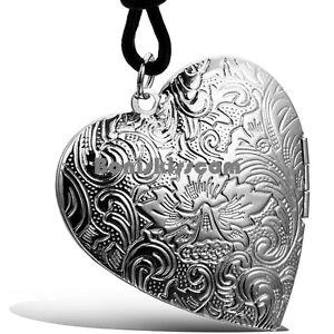 Vintage-Silver-Tone-Locket-Heart-Pendant-Ladies-Necklace-w-Black-Leather-Chain