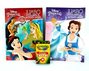 Disney-Princess-Jumbo-Coloring-Activity-Book-Crayons-Lot-of-2-Snow-White-Belle