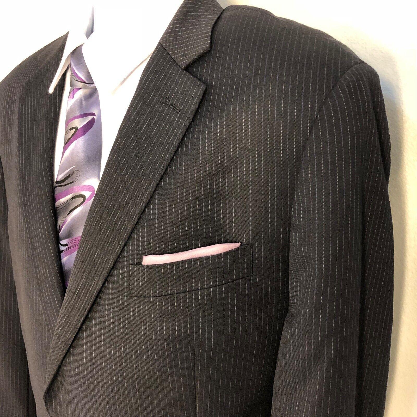 American Living navy Blau striped 2 piece suit men Größe 42r Pants 38x34 2B 1V