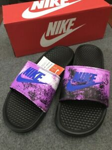 meet 740b3 f43a5 Details about Nike * Benassi JDI Print Black/ Racer Blue-Vivid Purple  Slides Slippers for Men