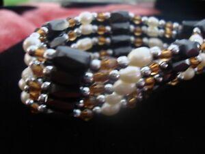 Details About J586 Hemae Freshwater Pearl Brown Gl Bead Magnetic Wrap Bracelet 36 In