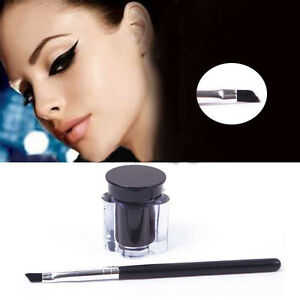 Schwarz-Waterproof-Eyeliner-Frau-Eye-Liner-Gel-Makeup-Cream-Cosmetic-Brush