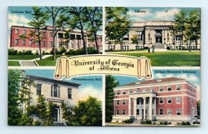 Postcard-GA-University-Of-Georgia-At-Athens-Linen-Multi-View-LaConte-Library-A3