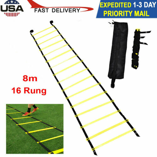 16 Rung Agility Speed Training Ladder Footwork Fitness Football Exercise w// Bag