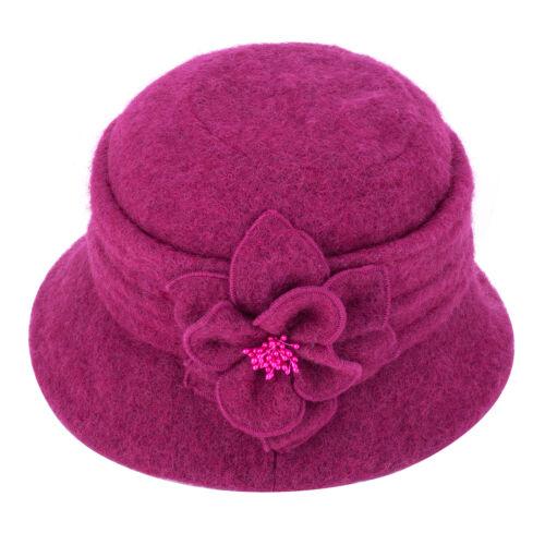 Les femmes Gatsby 1920 S Roll Bord Hiver Floral laine Beret Beanie Chapeau A299