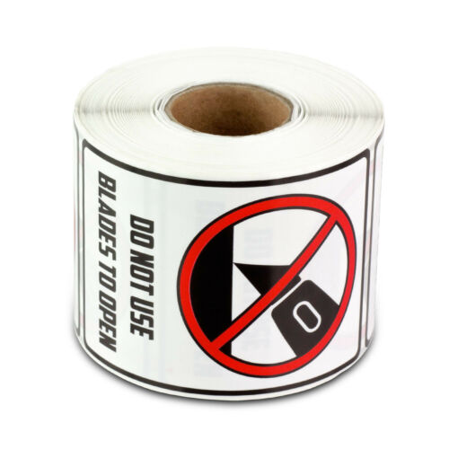 DO NOT USE BLADES TO OPEN Handling Labels Caution Warning Stickers (2x3, 4PK)