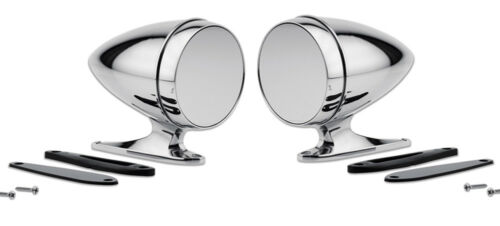 Mustang Shelby Bullet Style Chrome Mirrors GT350 Cobra Tiger GT500 Pair Set NEW