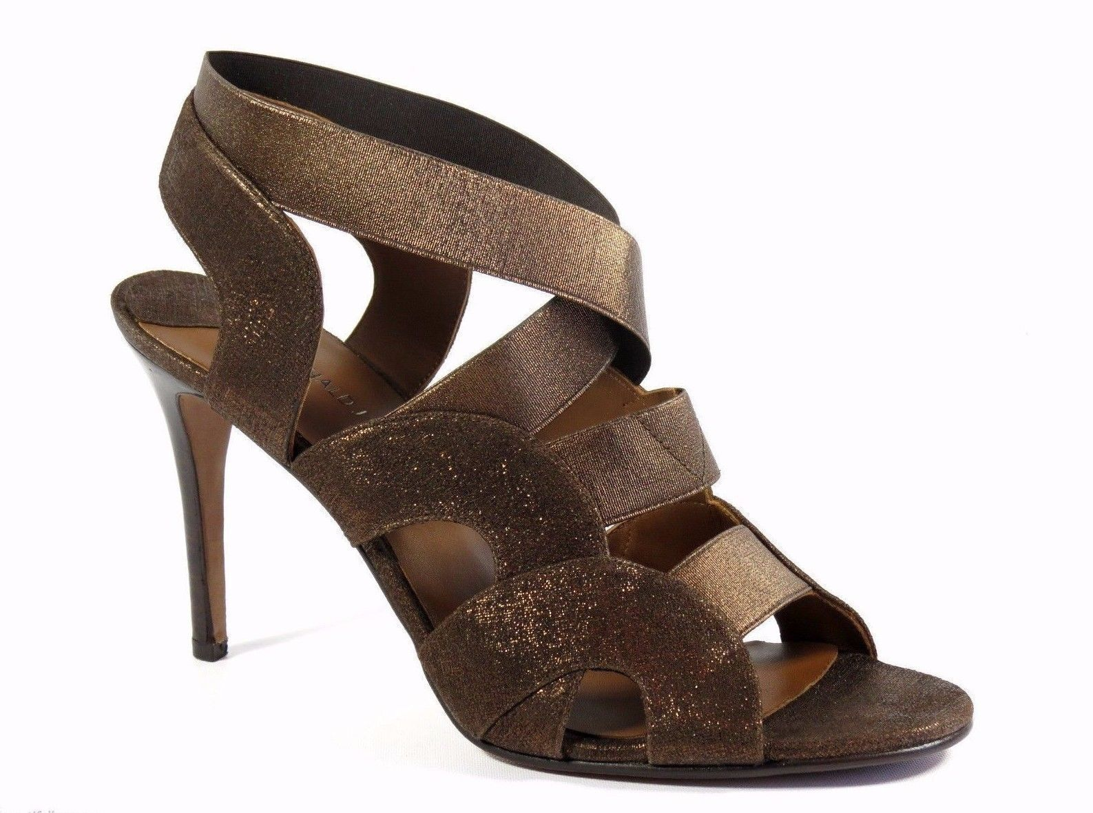 Donald Pliner Milos Bronze Metallic Pelle Elastic Strap Open Toe High Heel 9.5