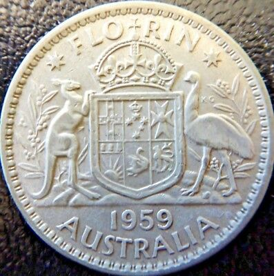 1954 Royal Visit Silver TWO Shilling Florin TWO BOB QUEEN Elizabeth II very Nice