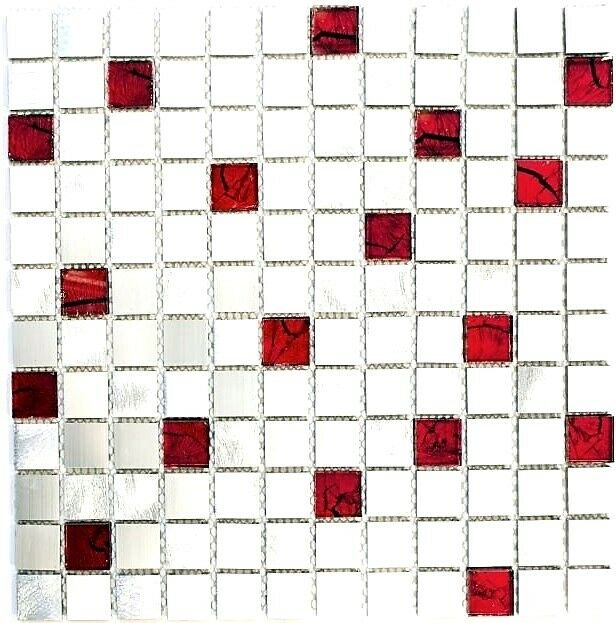 Mosaik Fliese Aluminium Aluminium Aluminium Transluzent Glasmosaik rot silber  49-O301F_f  10 Matten 8d0c78