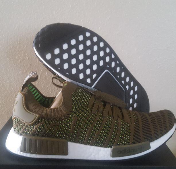 New Adidas Originals NMD R1 STLT PK Boost Prime Olive Knit Running schuhe Größe 11