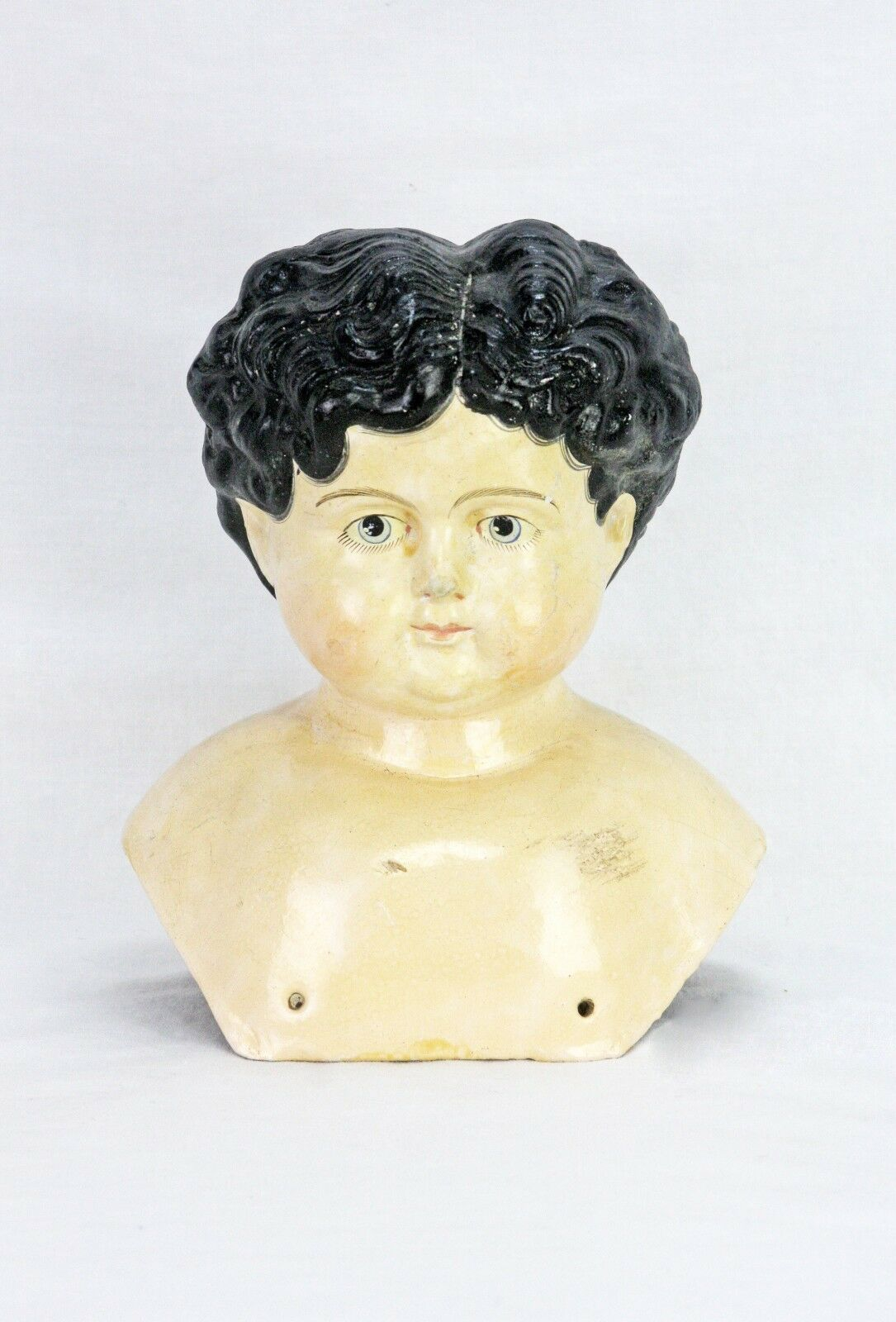 Muñeco De Papel Maché Antiguo Alemán Grande Hombro Cabeza ca1880
