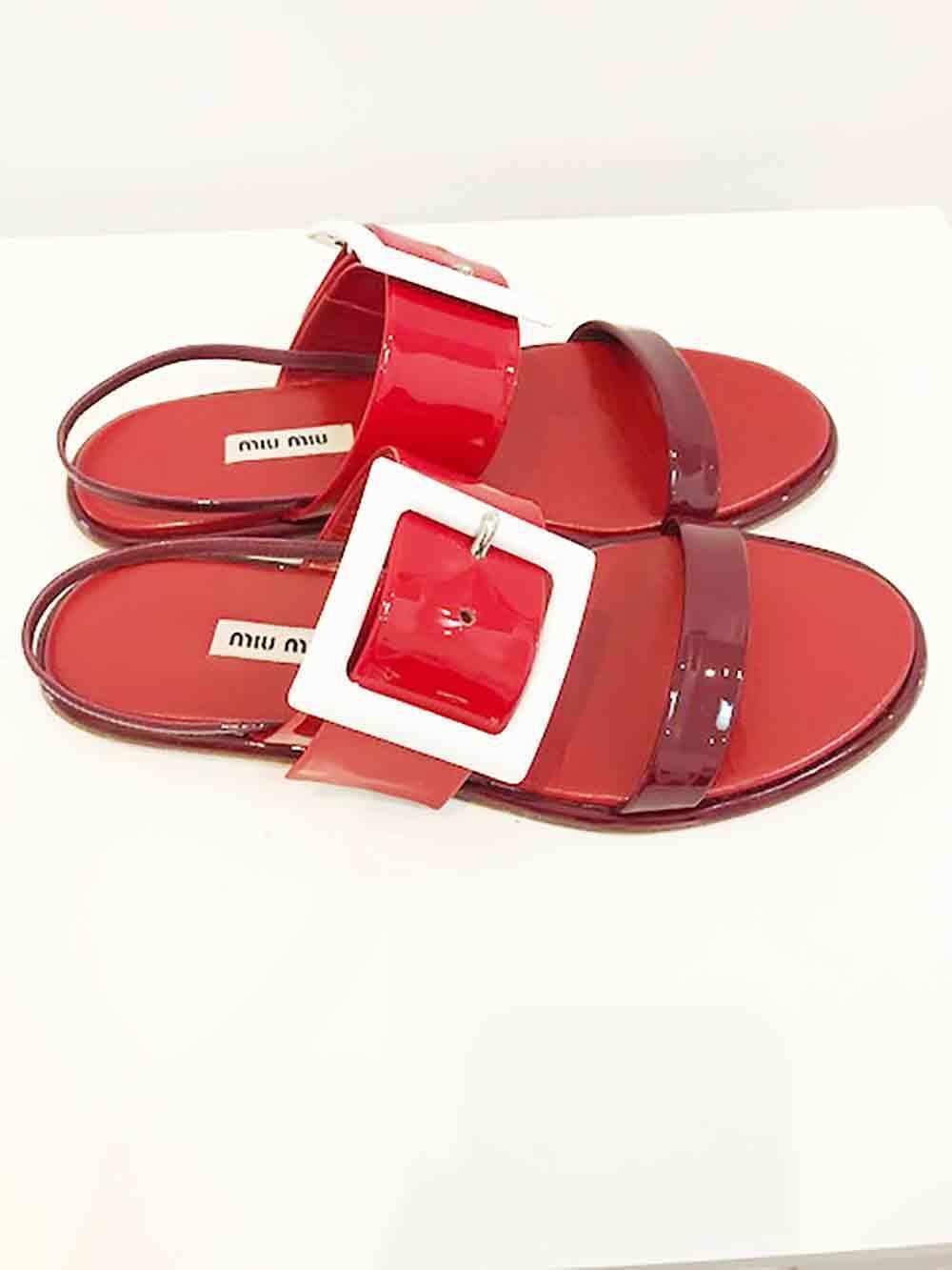 Designer BNWB MIU MIU Size 39.5 Stunning Red Leather Women's Sandals