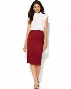 New-York-amp-Company-7th-Avenue-Suiting-Maroon-Burgundy-Tweed-Pencil-Skirt-2