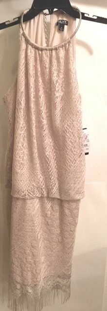 SLNY SL Fashions Pearl Chain Mesh Blouson Dress Size 12