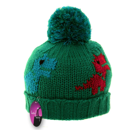 Kids Winter Hat Thick Knitted Warm Wooly Pom Bobble Ski Boys Toddler Child Cute