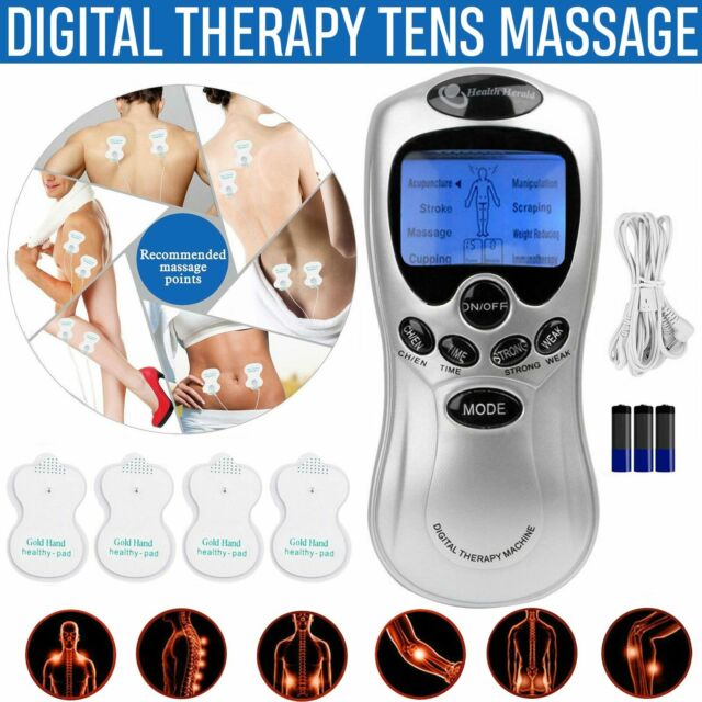 TENS Machines Digital Therapy Full Body Massager Vibration Pain Relief W/ 4 Pads