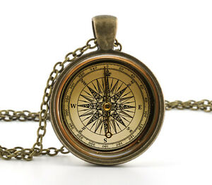 Vintage compass pendant necklace old fashioned antique style image is loading vintage compass pendant necklace old fashioned antique style mozeypictures Gallery