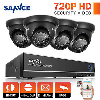 SANNCE 4x 720P In/ Outdoor IR Camera Home Security System 4CH 1080N HD 4in1 DVR