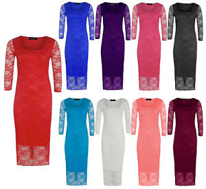 New-Womens-Bodycon-Midi-Dress-Lace-Floral-Pencil-Cocktail-Party-Evening-Dresses
