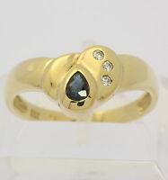 ♦♦♦Saphir Ring in aus 8 kt 333 Gelb Gold mit Zirkonia Safir Saphirring Goldring♦