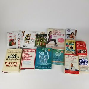 Lot of 15 Books Fitness Health Diet Workout Meal Plan Atkins South Beach Protein