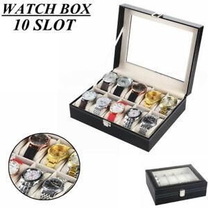 10-Slot-Watch-Box-Display-Case-Organizer-Jewelry-WristWatch-Bracelet-Storage-Men