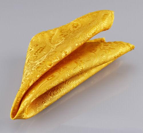 Luxury Gold Mens Tie and Handkerchief Set Silk Floral Napkin Hanky r104
