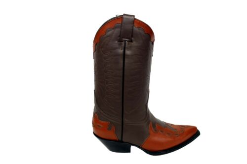 pelle punta stivali On cowboy da marrone Marrone Arizona Western Slip stivali Grinders fqvEWp
