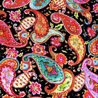 Pink Red Blue & Gold Packed Paisley, Cotton, By Sandy Clough For Red Rooster