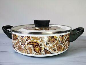 Vintage-Enamelware-Paisley-Brown-Enamel-Kitchen-Fancipan-Pot-3-034-x-9-034