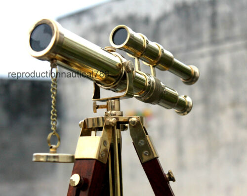 Solid Brass Double Barrel Spy Glass Telescope With Wooden Tripod Marine Scope G
